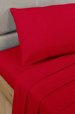 Polycotton Percale - Fitted Valance Sheet - Red - Double