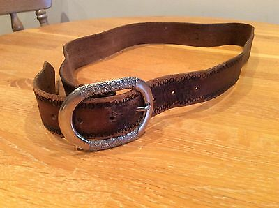 Leather belt with silver tone buckle & patterned leather women's - used.