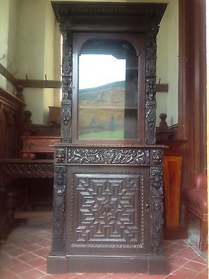 17th Century Carved Oak Library Bookcase Flemish Lion Head Pussy Oak Angels Pray