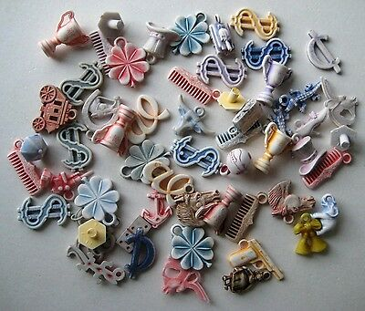 1950's VINTAGE Pastel Plastic GUMBALL CHARM Toy Prize Lot of 50+ Great Mix