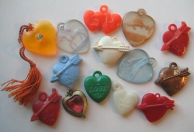 VINTAGE Plastic Valentine LOVE HEART Gumball Charm Lot 1950's 60's