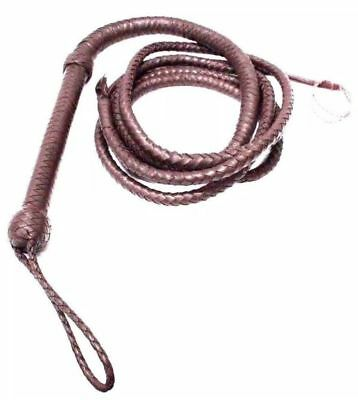 HUNTER DARK BROWN WHIP Beautiful Real Cowhide Leather, INDIANA JONES Bullswhips