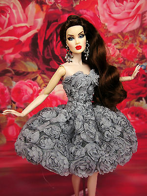 Gray Flower Cocktail Evening Dress Outfit Gown Silkstone Barbie Fashion Royalty