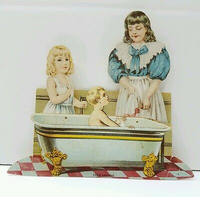 Antique Victorian Lion coffee Paper Doll Trade Card ~ The Bathroom ~