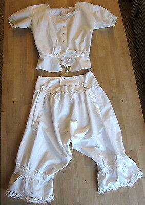 Antique Victorian Bloomers with buttoned flap & Camisole white cotton, lace trim