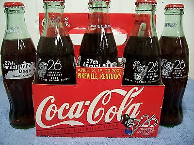 Hillbilly Days 26th-2002 & 27th-2003 Annual Festival 6 pack coca cola   bottles