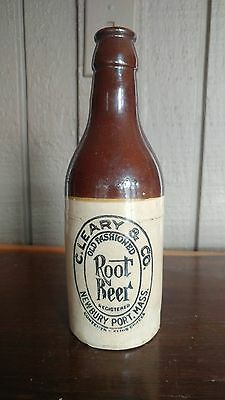 Early 1900s C. Leary & Co. Root Beer Stoneware Bottle Newbury Port, MA