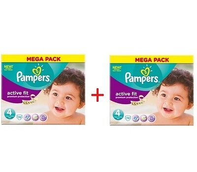 2 Mega Packs de 78 Couches PAMPERS ACTIVE FIT= 156 Couches.Taille 4