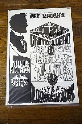 Grateful Dead Art of Rock 2.73 Abe Lincoln's B-Day Fillmore Aud 2/12/1967 Poster