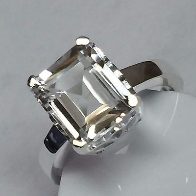 Natural Emerald Cut 4ct White Topaz 925 Solid Sterling Silver Ring sz 7