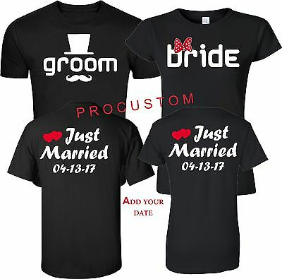 Just Married GROOM AND BRIDE Wedding'S VALENTINE'S LOVE COUPLE CUTE Tshirt S-5XL
