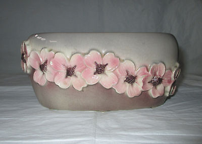 Vintage 1950s Royal Copley DOGWOOD Oval Planter, Pink Flowers, Gray