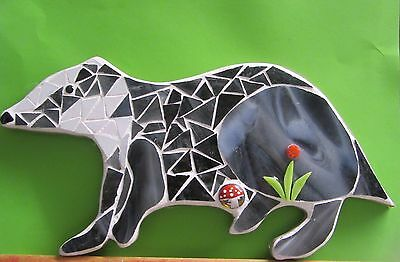 Stained Glass Mosaic Badger, Handmade