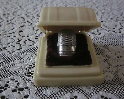 Vintage Antique Sterling Silver Thimble Celluloid Holder Box Sewing Simons