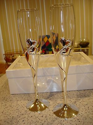 Wedding Engagement Toasting Champagne Flutes Crystal Diamante Hearts