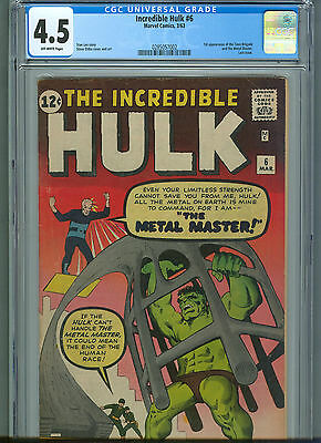 The Incredible Hulk #6 (Mar 1963, Marvel) CGC 4.5  1st app. of the Metal Master