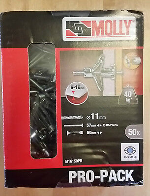 Molly Plasterboard Cavity Wall Anchor Fixings x50 - M5 x 50mm