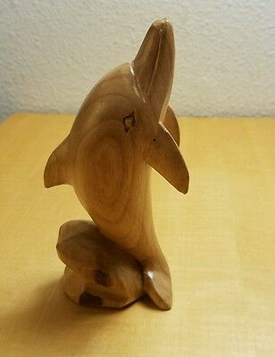 Hand Carved Wood Dolphin Figurine  Wooden Statue Figure Animal Large