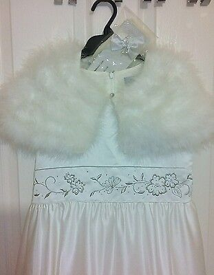 Girls First Holly Comunion Wedding dress cape gloves 10-11 years