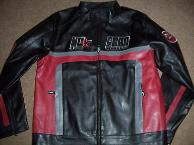 No Fear mens brand new black 'Racing' faux leather biker jacket.Size medium.