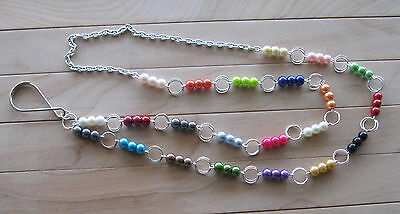 Multi Color PEARL - glass beaded chain ID Badge Eyeglass Lanyard Necklace