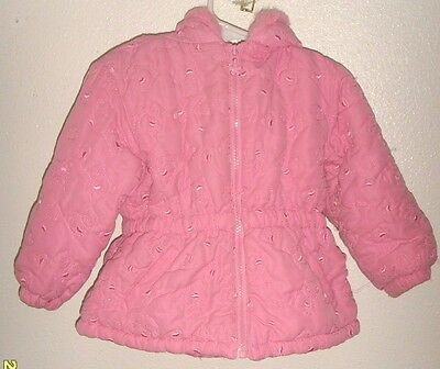 Girl's size 24 months pink hooded full zip jacket