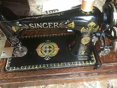 Old Singer Electric Sewing Machine In Wooden Carrying Case