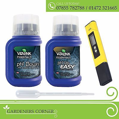 Hydroponics ESSENTIALS PH Up and Down 250ml with PH Testing Stick Soil Test