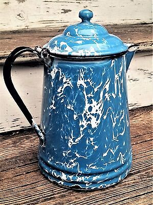 "Vintage TURQUOISE & White SWIRL GRANITEWARE Enamelware TEA / COFFEE POT 10"" Blue"