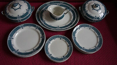 22 Piece blue and white dinner set, Bourne and Leigh,Staffordshire pottery,1930s