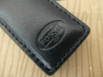 FOSSIL Money Clip ESTATE Black Leather Compact MAGNETIC Cash Holder Clips