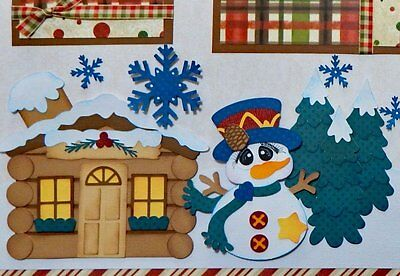 Snow Day / Winter / Snowman Cabin 2 premade scrapbook pages layout paper piecing