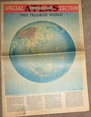 St. Louis Post - Dispatch Special Atlas Section 1954 Old Newspaper This Troubles
