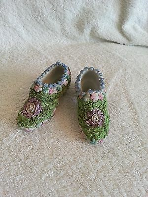 Victorian Pair Of China Moss China Shoes
