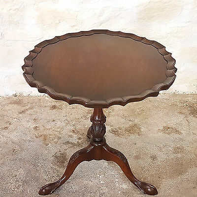 George III Style Flip Top Carved Mahogany Tripod Table with Pie Crust Edge