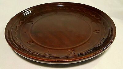 "MarCrest Daisy Dot Dinner Plate 9.5"" Vintage Ovenproof Stoneware USA Brown EUC"