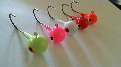 25 - 3/4 oz.  ROUND HEAD JIGS WITH BARB COLLAR - Black Nickle Needle Point Hooks