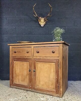 Stunning Victorian Antique Country Farmhouse Rustic Pine Cupboard Sideboard