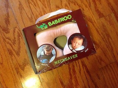 Baberoo Necksaver Infant Baby Headrest Head Support Pillow Pink and Brown