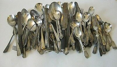 Silverplate Flatware Mixed Lot 130+  Rogers Oneida Community Spoons Forks Crafts