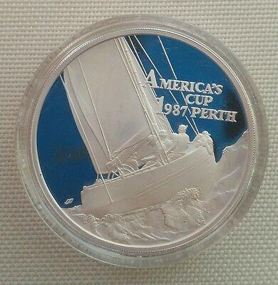 1987 AMERICA's Cup Perth ONE TROY OUNCE SILVER COIN - Sailboat $10 Samoa