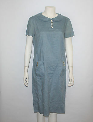 Vintage 1960's Peck & Peck Light Blue Collar Dress with Front Pockets
