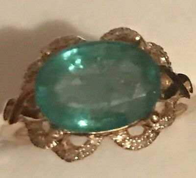 Estate 3.41CT  Natural Emerald & Diamonds 14K Solid Yellow Gold Ring