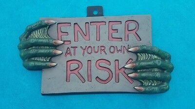 Creature From The Black Lagoon Hands - Enter  At Your Own Risk Sign - Plastic