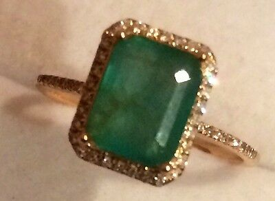Estate 1.75Ct   Natural Emerald And Real Diamonds Ring In 14K Yellow  Gold