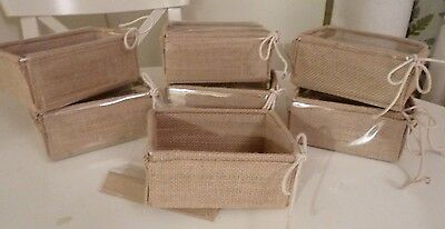 7 x NATURAL JUTE/HESSIAN GIFT BOXES with TRANSPARENT LIDS- FLAT PACK.