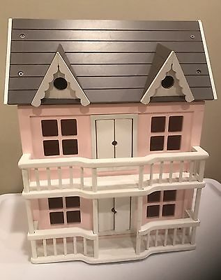 Pottery Barn PB Kids 2 Story Dollhouse White, Pink with Furniture Starter Set