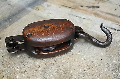 Antique Wood Vintage Old Pulley Maritime Farm Decor Block & Tackle