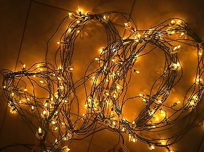 4 Strings Vintage GOLD Yellow Christmas Lights w/ Reflectors 144 Lights Italy
