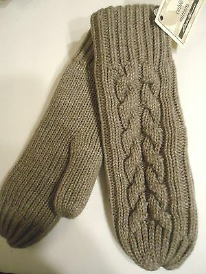 Ladies Women's Eddie Bauer Cable Stich Mittens,O/S, Taupe